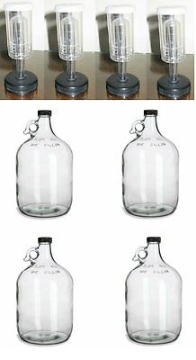 4 GLASS 1 GALLON JUGS + AIRLOCKS FOR HOMEBREWING BEER WINE MAKING KITS MOONSHINE