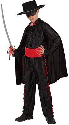 Kostüm Junge Zorro Schwarz 7/8/9 Jahre Kinder Zeichentrick Disney Film (Disney Kostüm Zeichen)