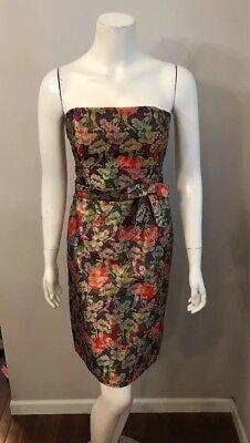 David Meister Red Purple Gold Floral Brocade Strapless Dress Size 6](Purple Brocade Dress)