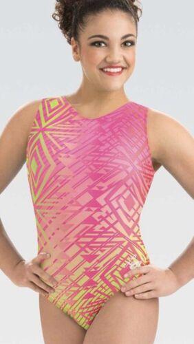 NWT GK Elite Laurie Pink Lime Green Aztec Gymnastics Leotard Adult Large AL