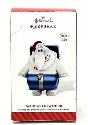 RARE NEW 2014 HALLMARK I WANT YOU TO WANT ME SOUND ELEPHANT CHRISTMAS ORNAMENT