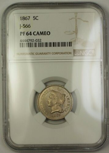 1867 Nickel Pattern Proof 5c Ngc Pf-64 Cam Cameo *better Coin* J-566 Judd Ww