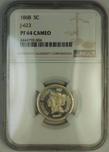 1868 Nickel Pattern Proof 5c Ngc Pf-64 Cameo Cam *better Coin* J-623 Judd Ww