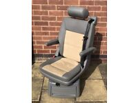Vw T5 Transporter Caravelle Rear Swivel Captain Seat in beige grey Alcantara Leather