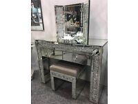 Diamond sparkle Mirrored Dressing Table Set