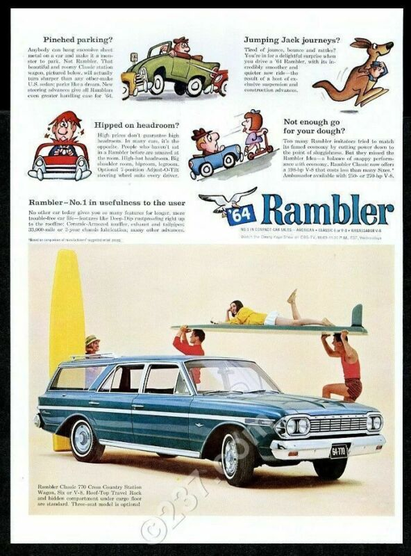 1964 Rambler Classic 770 Cross Country station wagon surfer surfboard photo ad