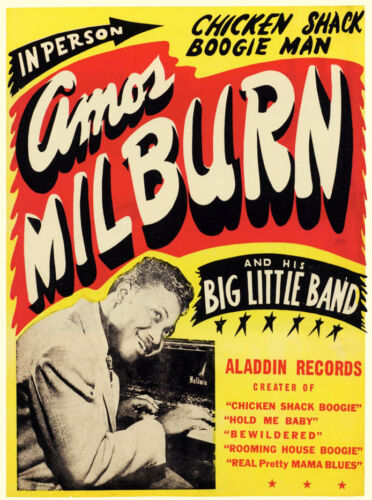 In Person 1951 Amos Milburn Show Poster 13 x 16 Giclee  print