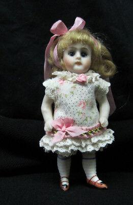 """Floral Dress for a 3 3/4"""" Antique Doll Mignonette All Bisque Kestner Dollhouse"""