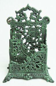 Cast Iron Scroll Victorian Letter Holder Antique Green Paint Only $6 Shipping