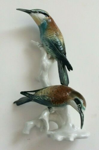 "ANTIQUE  KARL ENS VOLKSTEDT GERMANY PORCELAIN  BEE EATERS BIRD FIGURINE 9"" TALL"