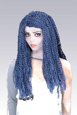 CORPSE BRIDE WIG Tim Burtons Blue Braids Adult Ladies Womens Costume Accessory - Corpse Bride Halloween Wig