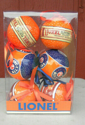 Lionel Train Christmas Ornament set of 6 bulbs New in box