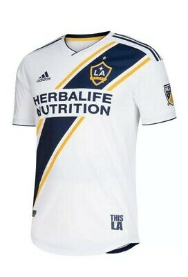 Adidas LA Galaxy Authentic Mens MLS Soccer Jersey Sz XL 2018/19 Home White NEW image