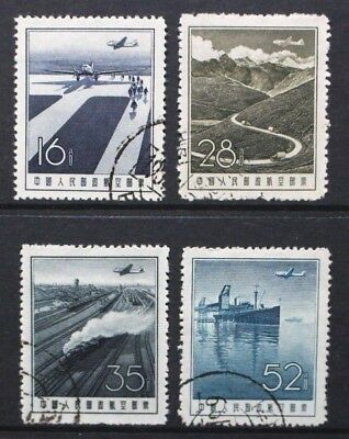CHINA 1957 Air Mail: Aircraft Steam Locomotive. Set of 4. Fine USED. SG1727/1730