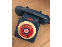 Retro vintage phone Telephone not iPhone blue red white prop 70s