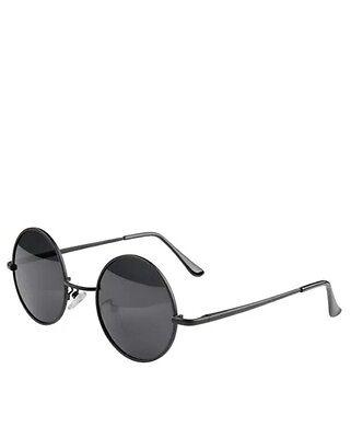 Vintage Retro Men Women Round Metal Frame Sunglasses Black Lens Glasses Eyewear