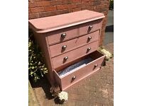Large Victorian chest of drawers Painted in Chalk beautiful piece