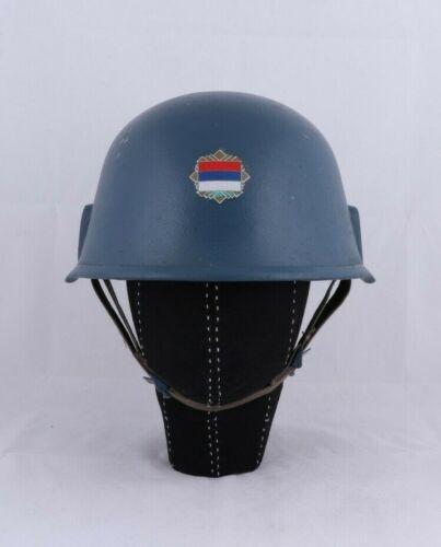 JNA YPA Yugoslav Militia Milicija M89 Blue Kev lar Hel met With Tricolor Decal