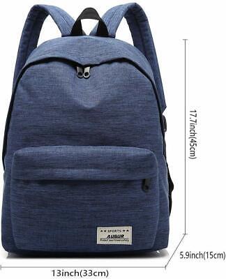 US Women Men Shoulder Canvas Backpack Rucksack School Book Travel College Bag