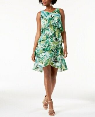 SLNY Green Multi Sleeveless Printed Tiered Dress Pick your size  #969 ()