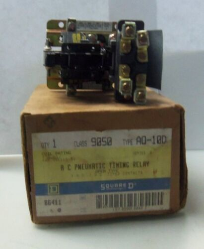 NEW SQUARE D 9050 AO-10D AC PNEUMATIC TIMING RELAY SER. A 120/110V 50/60Hz NIB