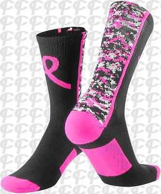 TCK Digital Camo Pink-Black Breast Cancer Awareness Crew Sock Football Lacrosse ](Breast Cancer Football Socks)