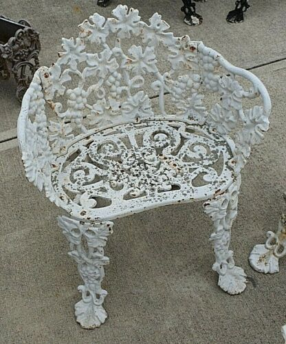 Vintage Cast Iron Wreath Grape Vine Chair Garden Yard Victorian FREE SHIPPING