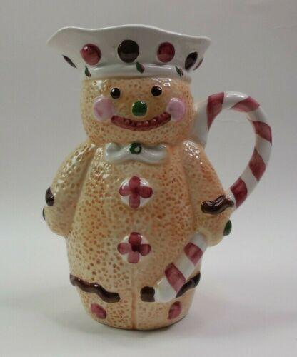 Vintage Christmas Candycane Gingerbread Man 30oz Pitcher/Jug Mug HandPaint RARE