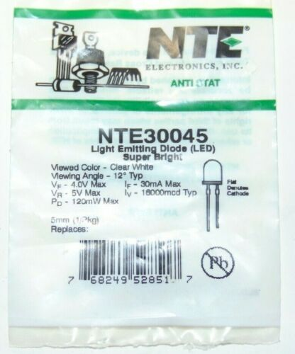 NTE Electronics NTE30045 LED-5mm Super White Water Clear Lens 16000 Mcd