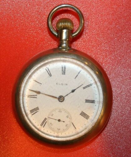 1907 ELGIN Grade 288  Model 5  18s 7j SILVERODE CASE POCKET WATCH WORKING
