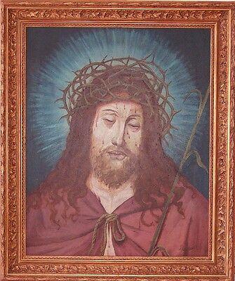 0227-Christus mit Dornenkrone, Ölgemälde von J. Leineweber, 19./ - Krone Von Dornen