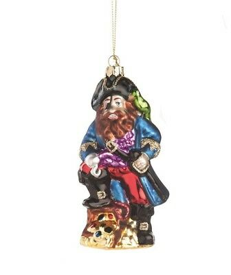 GALLERIE II BLACK BEARD PIRATE BUCCANEER GLASS HALLOWEEN CHRISTMAS ORNAMENT