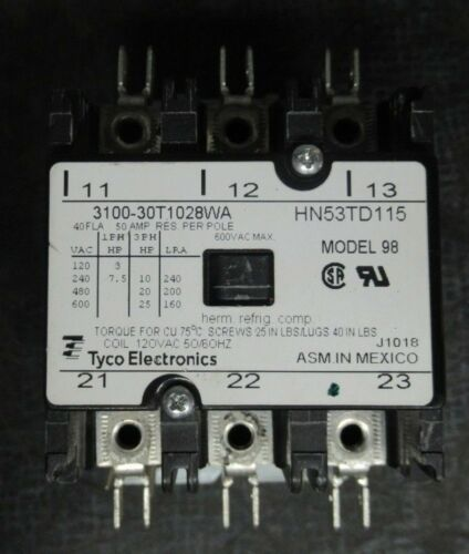 PRODUCTS UNLIMITED CONTACTOR 3100-30T1028WA 600V 25HP 50A/RES HN53TD115