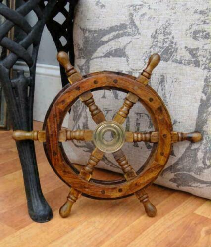 "12"" Wooden Steering Pirates Boat Ship Captain Nautical maritime Wheel Home Decor"