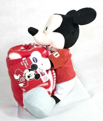 Disney Mickey Mouse Christmas Plush Pillow and Throw Blanket Collegiate Indiana