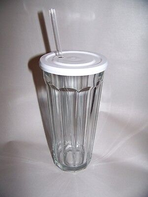 Clear Tumblers With Lid And Straw (Luminarc Working Glass Tumbler  with Straw and Lid  24 fl.oz.)