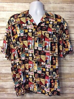 Caesars Entertainment Las Vegas Print Rayon Graphic Shirt Mens Small