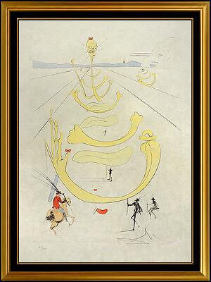 Salvador Dali Mask Of Death Color Etching Hand Signed Surreal Horse Artwork SBO