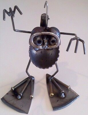 Sugarpost Mini Gnome Be Gone Scuba Diver Outdoor Garden Home Welded Metal Art