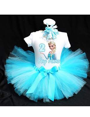 Frozen Elsa Birthday Tutu Outfit Birthday Dress Up Custom Any Name Any Age - Frozen Birthday Outfit