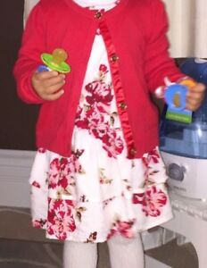FLORAL DRESS WITH MATCHING RED CARDIGAN (2T)