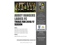 Abbey Ranger Football Club, open trials numbers attached on flyer.