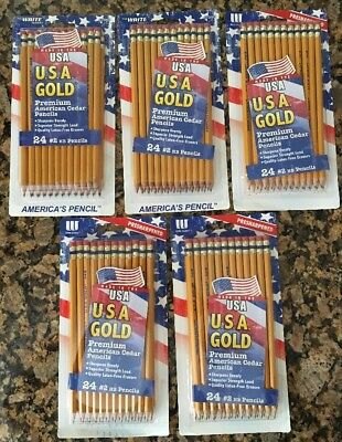 Write Dudes USA Gold Premium American Cedar Pencils 24 Pack Lot Of 5 (41055AA) (Usa Gold Pencils)