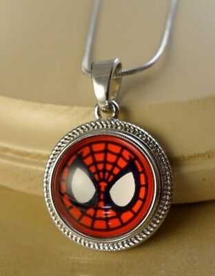 SPIDERMAN SNAP ROPE STYLE PENDANT W/Steel NECKLACE jewelry gift women](Spiderman Jewelry)