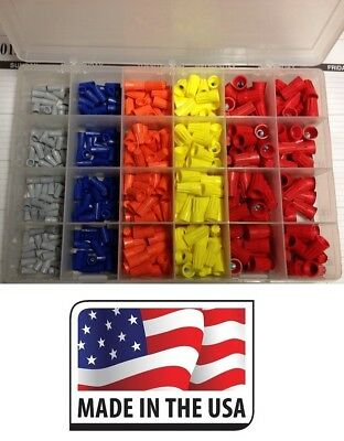 WIRE TWIST NUT CONNECTOR (500) ASSORTMENT W/ ORGANIZER TWIST ON SPLICE Made USA