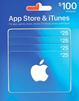 Canadian Itunes Cards 4 X  25  100 Total   Free Shipping    Canada App Store