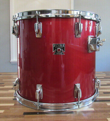 """1980's Tama Superstar Series 15"""" x 14"""" Deep Candy Apple Lacquer Finish Floor Tom"""