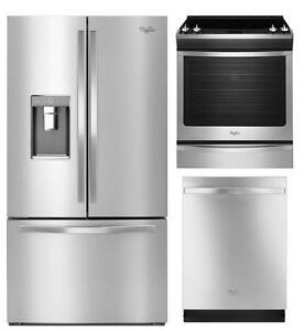 Combo cuisine Whirlpool en acier inoxydable : Frigo 36'', cuisinière 30'' et lave-vaisselle 24''