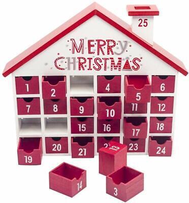 Natale Legno Calendario Avvento con 25 Cassetti Casa Scatola Portaoggetti Nuovo