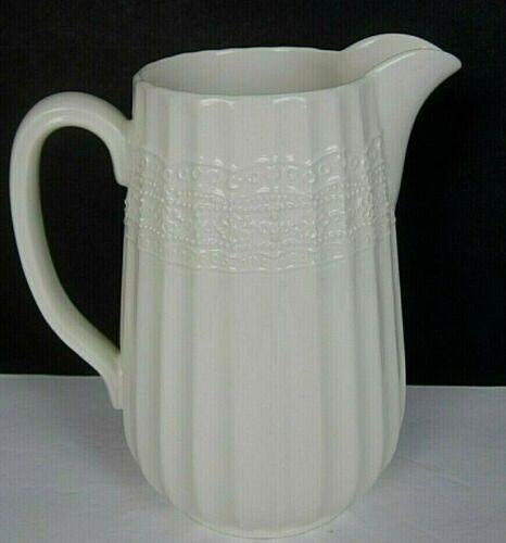Vintage Lefton G.Z. Lefton 1999 Ivory Ceramic Pitcher Lace Pattern EUC